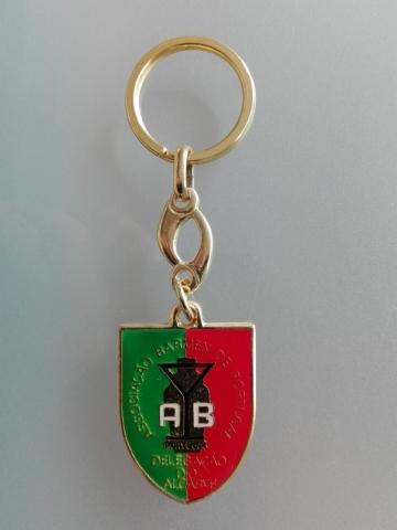 Porta chaves esmaltado com personalização. Dourado - Bandeiras do Algarve